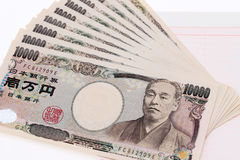 Japanese money and bankbook Royalty Free Stock Photos