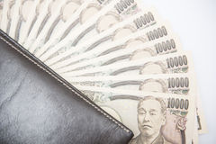 Japanese money banknotes with brown wallet Stock Photography