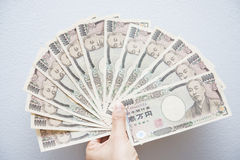Japanese money banknotes with brown wallet Stock Image