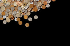 Japanese money coins on black background Royalty Free Stock Photos