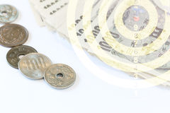 Japanese money with dartboard Royalty Free Stock Image