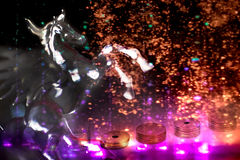 Japanese money and horse with light effect Royalty Free Stock Photography