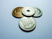 Japanese money, silver coin, yen Royalty Free Stock Images