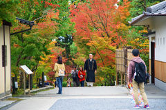 Japanese monk at Eikando temple with autumn color Stock Image