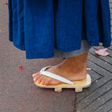 Japanese Monk with Japanese Sandals Stock Photography