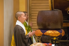 Japanese Monk at Zojoji Temple in Tokyo Stock Photography