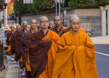 Japanese Monks in Mt. Koya, Wakayama, Japan. WAKAYAMA, JAPAN - OCTOBER 29: Japanese Monk in Wakayama, Japan on October 29, 2014. Unidentified group of japanese Stock Photos
