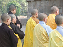 Japanese monks and nuns perform Buddhist rituals Stock Photo