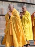 Japanese monks perform Buddhist rituals Stock Photos