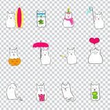Japanese monthly events with cat. Calendar with cats.transparent background Royalty Free Stock Photo