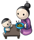 Japanese Mother Serving Child Saimin. A cute illustration of a Japanese mother and child. She is serving him home-made Saimin noodles Royalty Free Stock Image