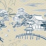 Japanese motive symbols vector sketch pattern traditional. Japanese motive symbols vector sketch pattern royalty free stock images