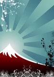 Japanese Mountain. Floral and Abstract Japanese Mountain Fuji Stock Photo
