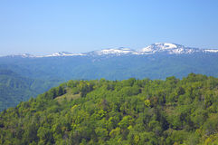 Japanese mountains. View from a mountain west of Sapporo in Hokkaido Royalty Free Stock Photo