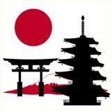 Japanese multi-store pagoda and flag. Japanese multi-store pagoda silhouette and flag Royalty Free Stock Image
