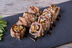 Japanese mushrooms rolls Stock Photo