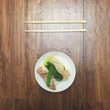 Japanese Nabe in Bowl. Arranged artistically with wood background Stock Image