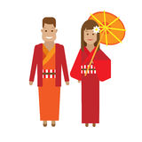 Japanese national dress. Illustration of national costume on white background Stock Photography