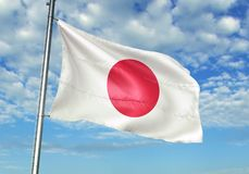 Japan flag waving with sky on background realistic 3d illustration. Japanese national flag realistic waving blue sky background 3d illustration stock illustration