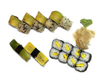 The Japanese national meal rolls. Closeup of Japanese national meal on a white dish Stock Photography