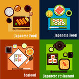 Japanese national seafood cuisine dishes Stock Photos
