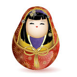 Japanese national wooden doll kimekomi princess in a red kimono and a rope belt. Vector illustration on white background. A charac Stock Image