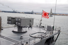 Japanese Navy in San Diego. A Japanese Navy destroyer visits San Diego to improve national relations with America Royalty Free Stock Images