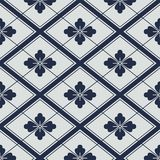 Japanese navy white flowers geometric pattern Stock Photography