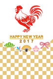 Japanese New Year card 2017 - Rooster and traditional icon Royalty Free Stock Photography