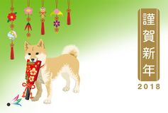 Japanese New Year card 2018- Shiba inu Carrying a Battledore, Tr. Aditional Ornaments Stock Photos