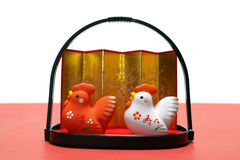 Japanese new year cocks isolated  2 Stock Photography