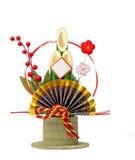 Japanese new year decoration. Traditional Japanese New Year decoration over white background royalty free stock photo