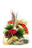 Japanese New Year decoration. Image of a traditional Japanese New Year decoration over white background Browse my stock photos
