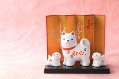 Japanese new year dog object on traditional paper background Royalty Free Stock Image
