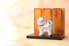 Japanese new year dog object on traditional paper Stock Image