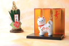 Japanese new year dog object on traditional paper Stock Images