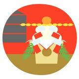 Japanese New Year, new year ornament, round rice cake. January, illustration royalty free illustration