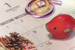 Japanese New Year`s ornament with pine cone and cute Japanese Zo stock photo