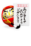 Japanese New Year's Post Card And Daruma Doll Royalty Free Stock Image