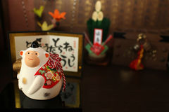 Japanese new year white monkey and the celebration objects stock photo