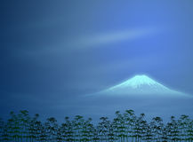 Japanese Night Landscape Illustration Stock Photo