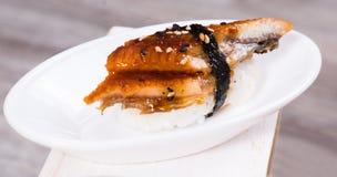 Japanese Nigirisushi with smoked eel Royalty Free Stock Photo