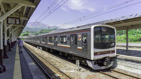 Japanese Nikko Line train to Nikko. Arrived at Nikko train station Stock Photo