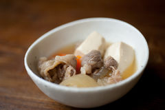 Japanese Nikudōhu (Simmered Meat and Tohu) Stock Photos