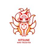 Japanese fox Kitsune vector illustration