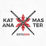 Japanese Ninja Logo. Katana master insignia design. Vintage ninja mascot badge. Martial art Team t-shirt illustration Royalty Free Stock Photo