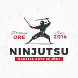Japanese Ninja Logo. ninjutsu insignia design. Vintage ninja mascot badge. Martial art Team t-shirt illustration concept Stock Photography