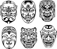 Japanese Nogaku Theatrical Masks Stock Images