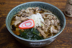 Japanese noodle, Soba with hot soup and Hida beef. Japanese food, Soba noodle with hida beef in hot soup Royalty Free Stock Image