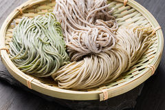 Japanese noodle soba. Three different types of Japanese traditional raw buckwheat noodle soba royalty free stock image